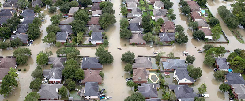 Overhead view of flooding caused by Hurricane Harvey