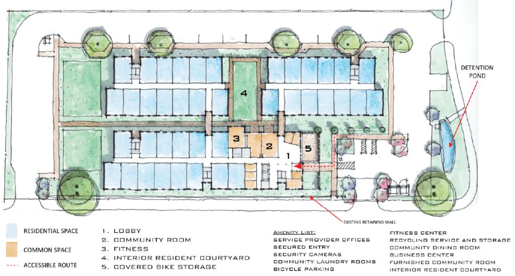 Rendering of Caritas' permanent supportive housing, Espero Austin at Rutland.